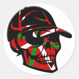 Skull surfer Basque Classic Round Sticker