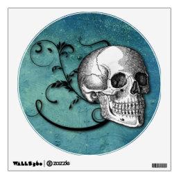 Skull & Swirls Teal Wall Decal