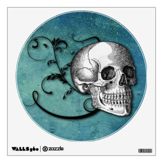 Skull & Swirls Teal Wall Decal