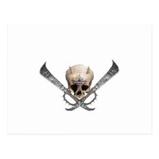 skull sword post card