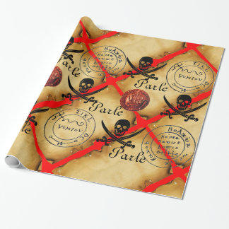 SKULL,SWORDS ,PIRATES TREASURE MAP PARCHMENT Parle Wrapping Paper