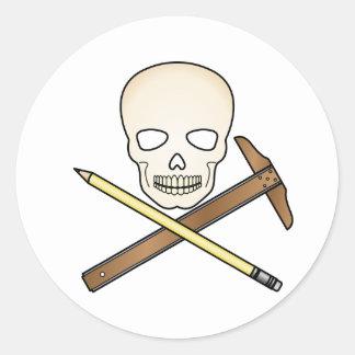 Skull & T-Square Classic Round Sticker