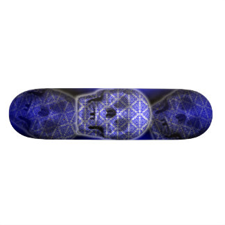 Skull Tattoo Art in Blue Skateboard