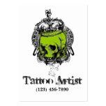 Skull Tattoo Artist Business Card Black Green