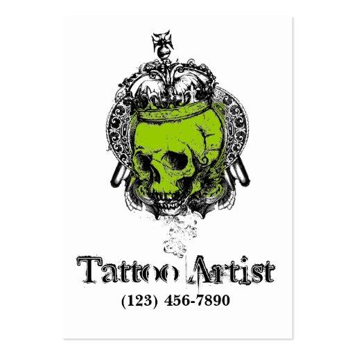 skull tattoo artist business card black green zazzle. Black Bedroom Furniture Sets. Home Design Ideas