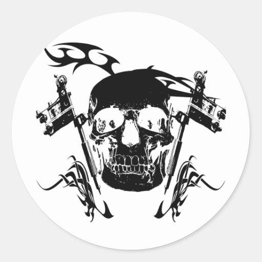 Skull tattoo classic round sticker zazzle for Custom tattoo stickers
