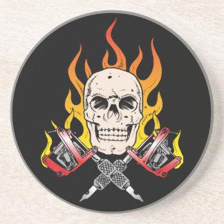 Skull Tattoo Flames Drink Coaster