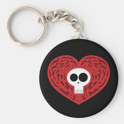 Skull Tattoo Heart Keychain