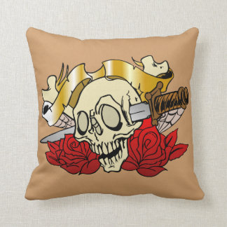 Skull Tattoo Throw Pillow