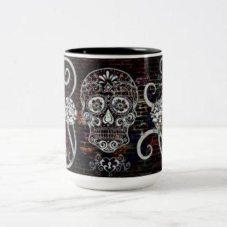 Skull Tattoo Wall Two-Tone Coffee Mug