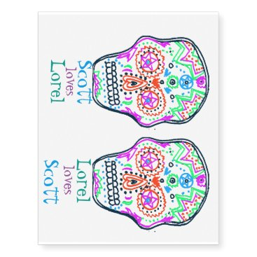 Beach Themed skull tatts temporary tattoos