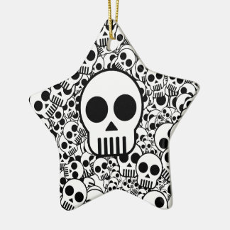 Skull Texture Black White Surface Ceramic Ornament