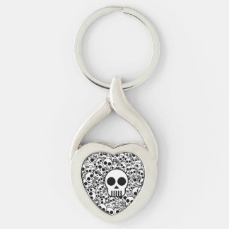Skull Texture Black White Surface Silver-Colored Heart-Shaped Metal Keychain