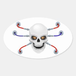 Skull the biorobot oval sticker