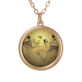 Skull the word gold plated necklace