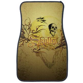 Skull the word with funny skull, car mat