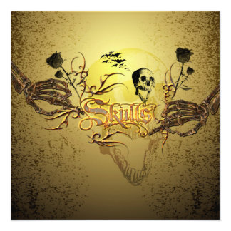 Skull the word with funny skull, roses card