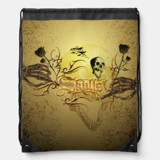 Skull the word with funny skull, roses drawstring backpack