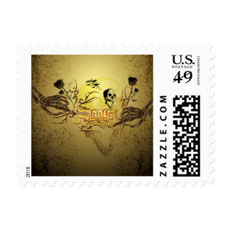 Skull the word with funny skull, roses postage