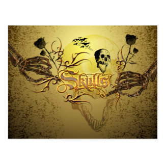 Skull the word with funny skull, roses postcard