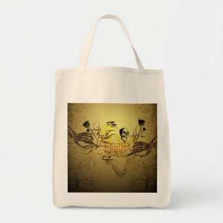 Skull the word with funny skull, roses tote bag