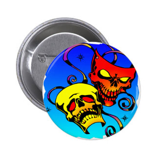 Skull Theater Masks Comedy and Tragedy Button