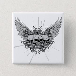 Skull ~ Three Skulls Wings Winged Pinback Button