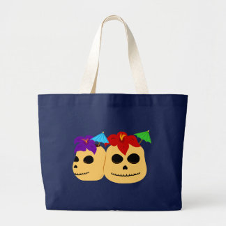 Skull Tiki Mugs Large Tote Bag