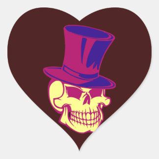 Skull top calavera cráneo cilindro tiene pegatina en forma de corazón