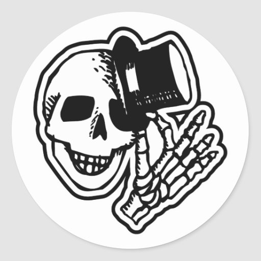 Skull Top Hat Gentleman B&W Classic Round Sticker