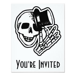 Skull Top Hat Gentleman B&W 4.25x5.5 Paper Invitation Card