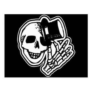Skull Top Hat Gentleman B&W Postcard