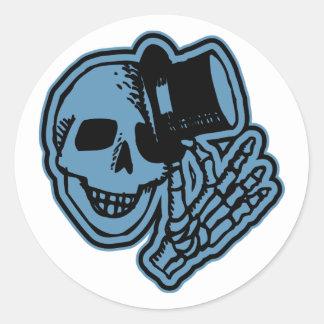 Skull Top Hat Gentleman Blue Classic Round Sticker