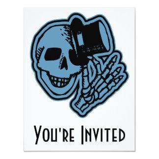 Skull Top Hat Gentleman Blue 4.25x5.5 Paper Invitation Card