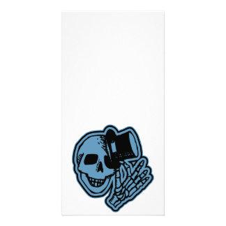 Skull Top Hat Gentleman Blue Photo Card Template