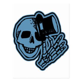 Skull Top Hat Gentleman Blue Postcard