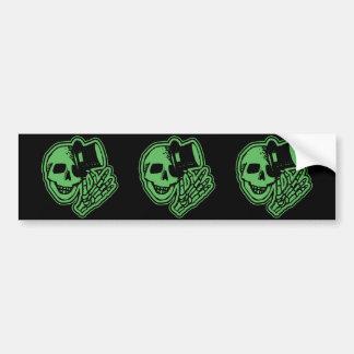Skull Top Hat Gentleman Green Bumper Sticker