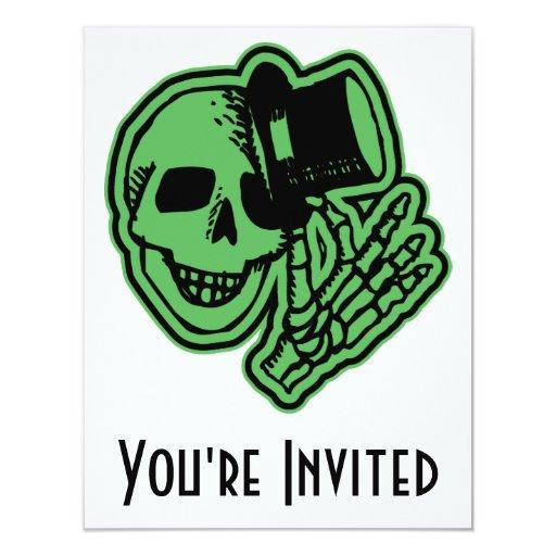 "Skull Top Hat Gentleman Green 4.25"" X 5.5"" Invitation Card"