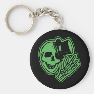 Skull Top Hat Gentleman Green Keychain