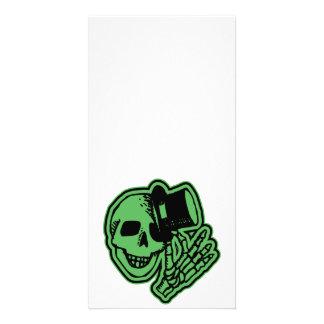 Skull Top Hat Gentleman Green Picture Card