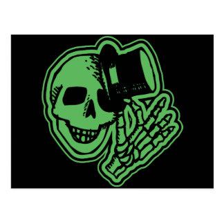 Skull Top Hat Gentleman Green Postcard
