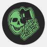 Skull Top Hat Gentleman Green Round Sticker