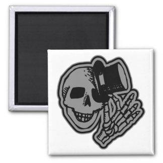 Skull Top Hat Gentleman Grey 2 Inch Square Magnet