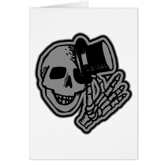 Skull Top Hat Gentleman Grey Card