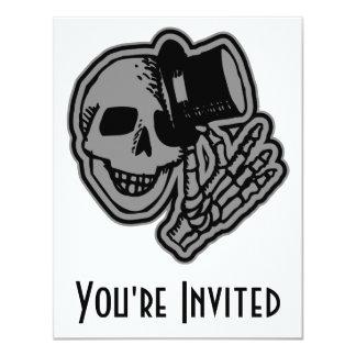 Skull Top Hat Gentleman Grey Card