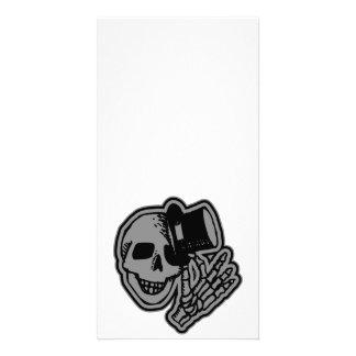 Skull Top Hat Gentleman Grey Customized Photo Card