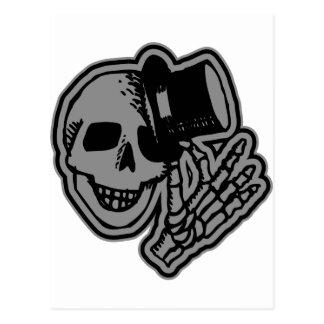 Skull Top Hat Gentleman Grey Postcard