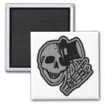 Skull Top Hat Gentleman Grey Refrigerator Magnet