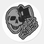 Skull Top Hat Gentleman Grey Stickers
