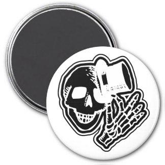 Skull Top Hat Gentleman Negative B&W Magnet